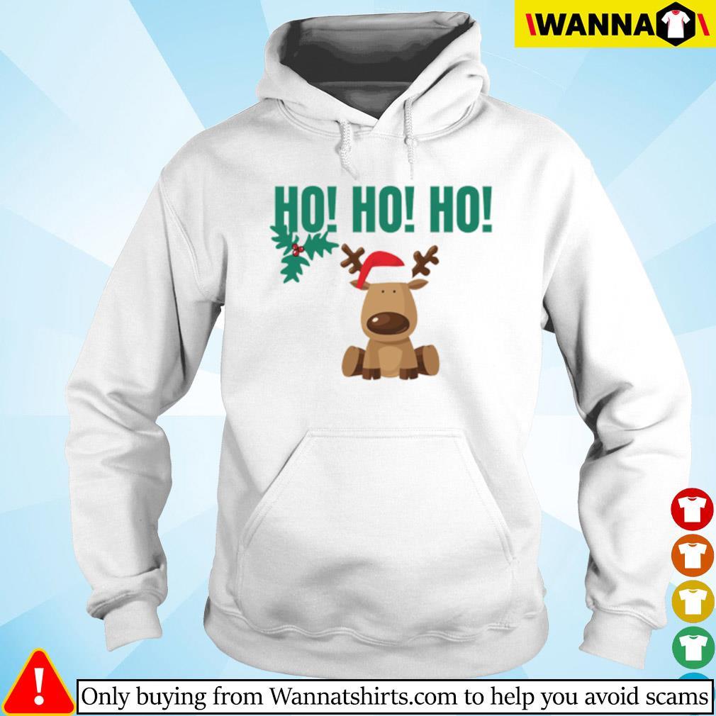 Reindeer Santa hat Ho Ho Ho Christmas sweater Hoodie