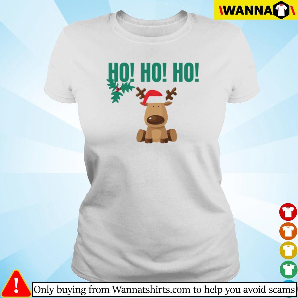 Reindeer Santa hat Ho Ho Ho Christmas sweater Ladies tee